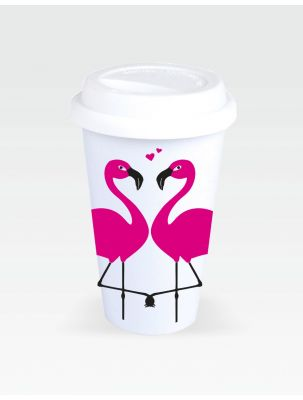 Coffee-to-Go-Becher mit Flamingo Motiv