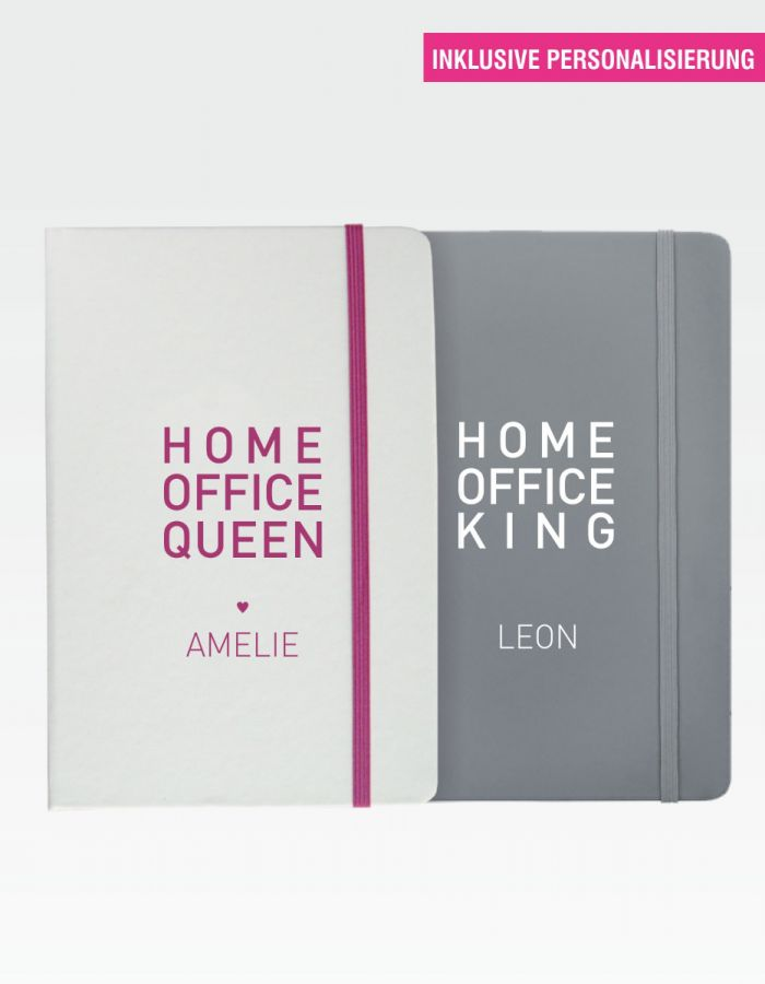 "Notizbuch ""Home Office King"" / ""Home Office Queen"" - mit Personalisierung"